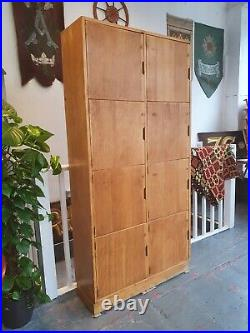 1950's Bank of Oak Framed School/Gym Lockers. Vintage/Retro/Mid-Century/Storage