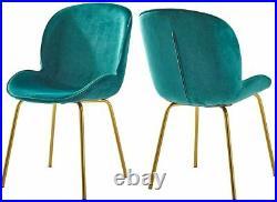 2 Peacock Green Lounge Dining Bar Chairs Set Velvet Mid-century Retro Vintage