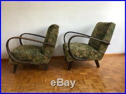 2f Retro Vintage Pair Of Czech MID Century Halabala Arm Chairs