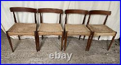4 Mid Century Danish Dining Chairs Mogens Kold Woven Rush Retro Vintage