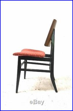 4 x Vintage Retro Mid Century 1960s Danish Era Teak & Black Dining Chairs
