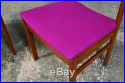 4x Vintage Retro Mid Century White & Newton Teak Dining Chairs New Upholstery
