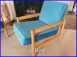 60s 70's Pair of turquoise velvet lounge armchairs. Mid-century, Retro, Vintage
