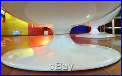 60s 70s Mid Century Retro Funky White Ball Pod Chair Black Interior