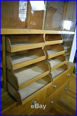 Antique vintage mid century Haberdashery cabinet