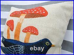 Bird Retro Cushion Cover, Toadstool, Blackbird, 1960, 1970, mid-century, vintage