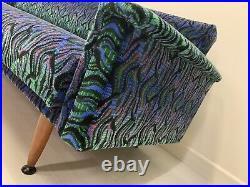 Day Bed Sofa Mid Century Original Teak Velvet Moquette 50s 60s Danish Retro