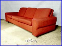 EB350 Danish Red Wool Three-Seater Sofa Mid-Century Modern Retro Vintage