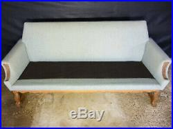 EB409 Danish Oak & Wool Three-Seater Sofa Vintage Retro Mid-Century Modern