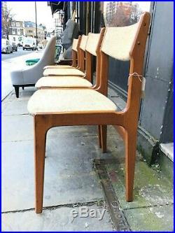 Four Teak Danish Dining Chairs with Original Fabric Vintage Retro