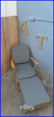Fully Restored Stunning MID Century Ercol 203 Chair & Footstool Vintage Retro