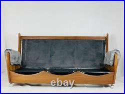G Plan Vintage Mid Century Teak Saddle Back Sofa Newly Reupholstered Velvet Grey