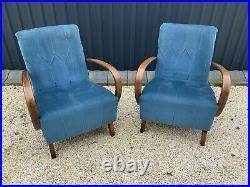Jindrich halabala chairs x2 art deco, mid century, retro, vintage