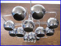 Large Sciolari Chrome ball Chandelier Mid century Modern 70s 60s Retro lamp