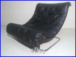Leather mid century lounge chair sling chair tubular metal retro vintage