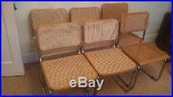Marcel breuer Chairs X 6 Vintage Retro Rattan Chrome Mid Century