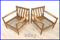 Mid Century Danish Scandinavian Vintage Beech Lounge Chair Armchair 1/2 /1044