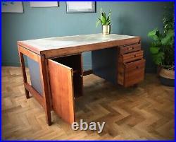 Mid Century Danish Solid Wood Industrial Desk Retro 1960s 1950s Retro