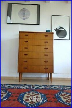 Mid Century Danish Vintage Teak Ostergaard Mobler Tallboy Chest Of Drawers Retro