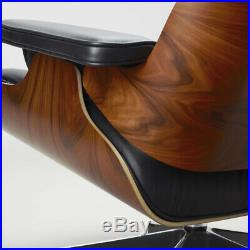 Mid Century Lounge Chair and Footstool Ottoman Rosewood 100% Real Leather