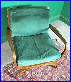 Mid Century Mahogany Armchair, Vintage, Retro, Curule Lounge Chair