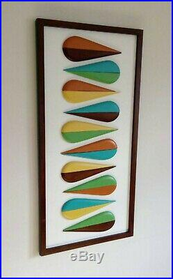 Mid Century Modern Wall Art Wood Sculpture Retro Color Art