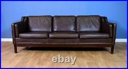 Mid Century Retro Danish Brown Leather 3 Seat Sofa Settee by Mogens Hansen 1970s