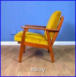 Mid Century Retro Danish Teak & Gold Velour Open Frame Lounge Arm Chair 1960s