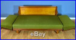Mid Century Retro Danish Teak & Wool 2.5 Seat Sofa Day Bed by Illum Wikkelsø 60s