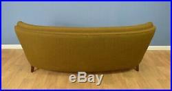 Mid Century Retro Danish khaki Wool 3 Seat Curved Banana Sofa Settee 1950s