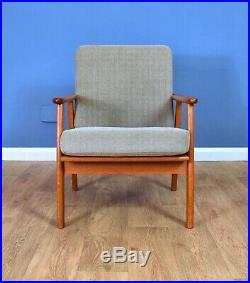 Mid Century Retro Vintage Danish Grey Wool & Teak Lounge Arm Chair 1960s 70s