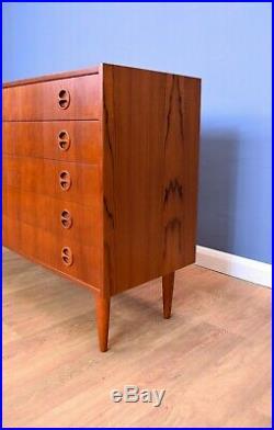Mid Century Retro Vintage Danish Teak Wide Bedroom Chest of 5 Drawers 1960s 70s
