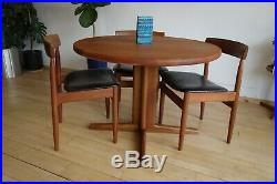 Mid Century Vintage Drylund mobler Danish Teak round compact dining table retro