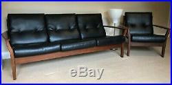Mid Century Vintage Retro Three Seater Danish Influence Sofa & Matching Armchair