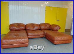 Midcentury Leather Chrome Modular Corner Sofa Vintage Retro 1970s Danish Loft