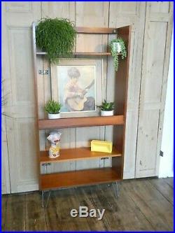 One MID Century G Plan Teak Room Divider Bookcase On Retro Hairpin Legs