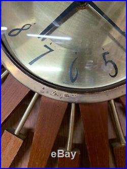 Original Retro Anstey & Wilson Large Starburst Sunburst Wall Clock Mid Century