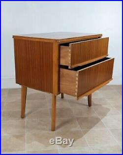 Pair Teak Bedside Cabinets Small Chest Drawers Mid Century Danish Style Retro