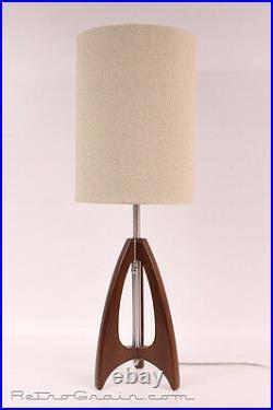 Retro Grain Table Lamp Danish Modern Atomic Mid-Century Walnut / Burlap
