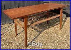Retro Mid Century Danish Teak Mobelintarsia Coffee Table With Wicker Lower Tier