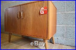 Retro Mid Century G Plan Scandinavian Record Cabinet Wooden Legs