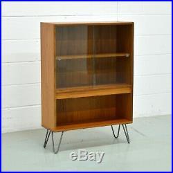 Retro Mid Century G Plan Scandinavian Teak Bookcase Sliding Doors Hairpin Legs