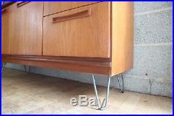 Retro Mid Century Meredew Scandinavian TV Record Cabinet Gplan style Hairpin Leg