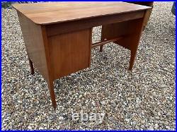 Retro Vintage Danish Single Pedestal Office Desk 60s Mid Century Modern