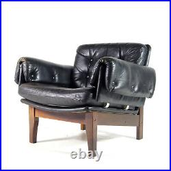Retro Vintage Danish Teak & Black Leather Chair Lounge Easy Armchair 50s 60s 70s