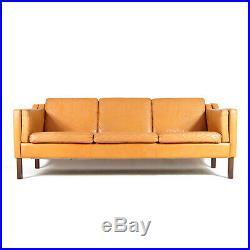 Retro Vintage Danish Teak & Tan Leather 3 Seat Seater Sofa 60s 70s Mid Century
