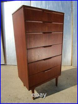 Retro Vintage Mid Century Teak Austin Suite London 6 Draw TallBoy Cabinet