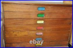 Retro vintage mid century wooden plan chest/school drawers