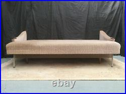 SB122 Danish Grey Velour Three Seater Sofa Bed Retro Mid Century Modern Daybed