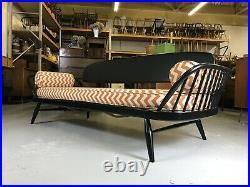 STUNNING Ercol Day Bed REUPHOLSTERED Black Studio Sofa Retro Vintage Originals